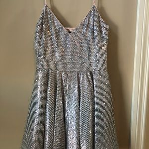 GORGEOUS BEBE rose gold sequin party dress